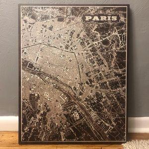 Canvas Art of Paris Map (Brown)